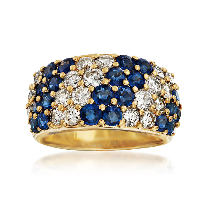 C. 1980 Vintage 1.92 ct. t.w. Sapphire and 1.41 ct. t.w. Diamond Diagonal Striped Ring in 18kt Yellow Gold