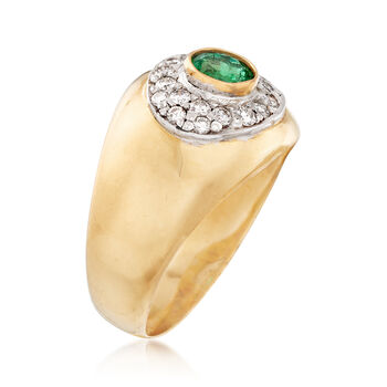 C. 1970 Vintage .50 Carat Emerald and .35 ct. t.w. Diamond Ring in 18kt Yellow Gold. Size 7, , default