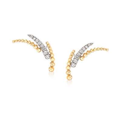 Gabriel Designs .14 ct. t.w. Diamond and Beaded Curve Earrings in 14kt Yellow Gold