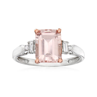 2.10 Carat Morganite and .11 ct. t.w. Diamond Ring in 14kt Two-Tone Gold