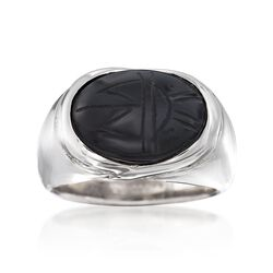 Black Onyx Scarab Ring in Sterling Silver, , default