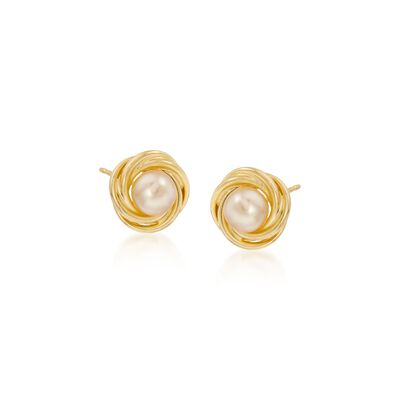 5-5.5mm Cultured Pearl Knot Stud Earrings in 14kt Yellow Gold  , , default