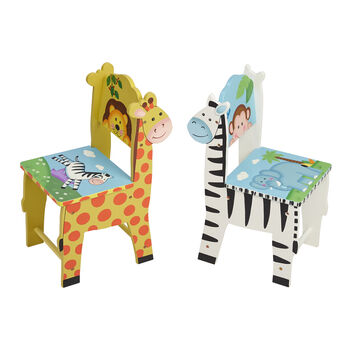 Child's Sunny Safari 3-pc. Wooden Set: Table and 2 Chairs, , default