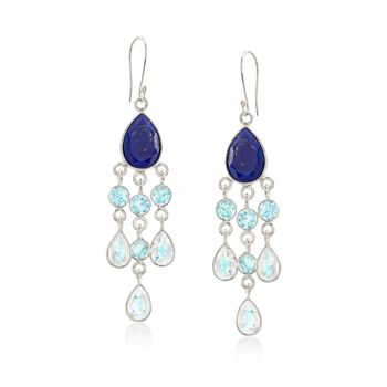 Blue and White Multi-Stone Chandelier Drop Earrings in Sterling Silver, , default