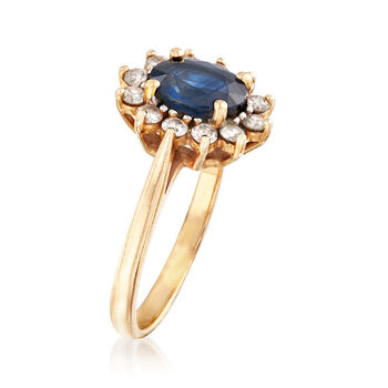 C. 1980 Vintage 1.55 Carat Sapphire and .50 ct. t.w. Diamond Ring in 14kt Yellow Gold. Size 8.5, , default