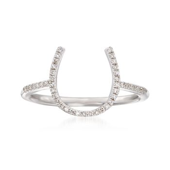 .15 ct. t.w. Diamond Horseshoe Ring in Sterling Silver. Size 5, , default