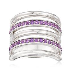 Italian .70 ct. t.w. Amethyst Multi-Row Ring in Sterling Silver, , default