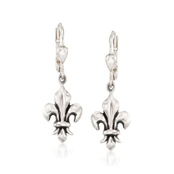 "Zina Sterling Silver ""Fleur De Lis"" Earrings , , default"