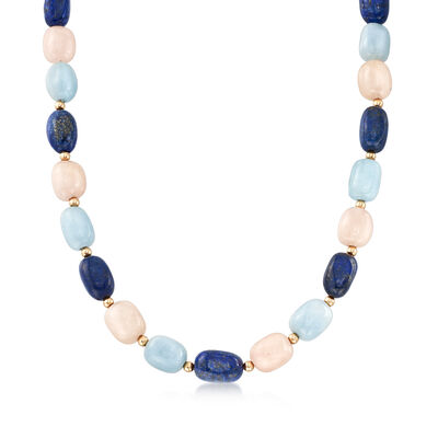 Pink and Blue Multi-Gem Bead Necklace with 14kt Yellow Gold