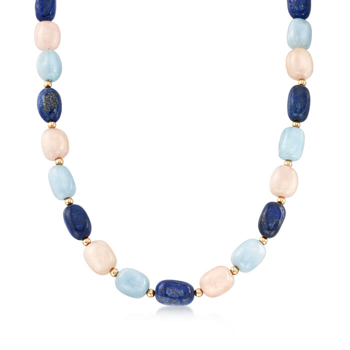 """Pink and Blue Multi-Gem Bead Necklace with 14kt Yellow Gold. 18"""""""