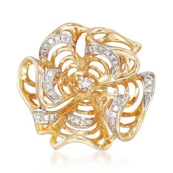 .20 ct. t.w. Diamond Pinwheel Pendant in 14kt Yellow Gold, , default