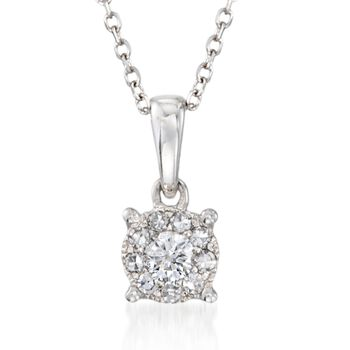 ".15 ct. t.w. Diamond Pendant Necklace in 14kt White Gold. 18"", , default"