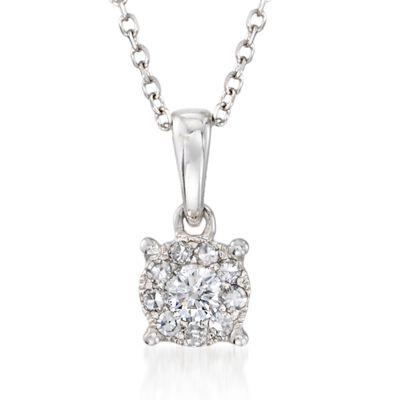 .15 ct. t.w. Diamond Pendant Necklace in 14kt White Gold, , default