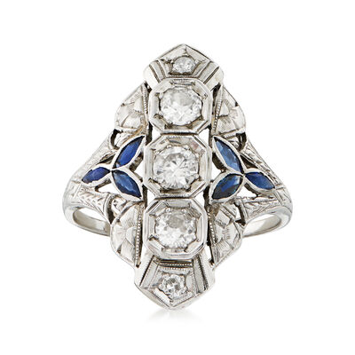 C. 1950 Vintage .70 ct. t.w. Diamond and .35 ct. t.w. Simulated Sapphire Filigree Ring in 18kt White Gold, , default