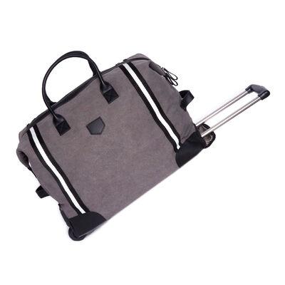 Brouk & Co. Gray Canvas Original Rolling Duffel Bag with Faux Leather, , default
