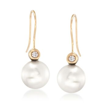 9-10mm Cultured Pearl Drop Earrings With Diamond Accents in 18kt Yellow Gold, , default