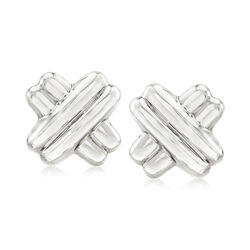 Sterling Silver X Clip-On Earrings , , default
