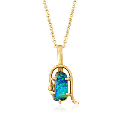 C. 1980 Vintage Black Opal Pendant Necklace in 18kt Yellow Gold