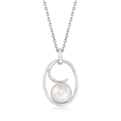 9.5-10mm Cultured Pearl Wave Pendant Necklace in Sterling Silver, , default
