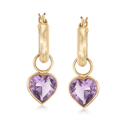 C. 1980 Vintage 5.60 ct. t.w. Amethyst Removable Heart Hoop Earrings in 14kt Yellow Gold, , default