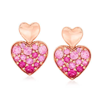 .60 ct. t.w. Pink Sapphire Heart Earrings in 14kt Rose Gold, , default
