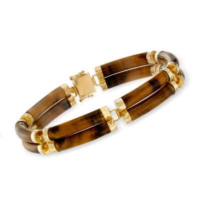 C. 1980 Vintage Tiger's Eye Bracelet in 14kt Yellow Gold, , default