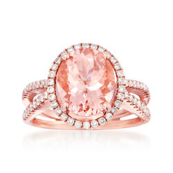 3.18 Carat Morganite and .52 ct. t.w. Diamond Ring in 14kt Rose Gold, , default