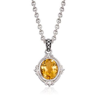 "Andrea Candela ""Fleur-De-Lis"" 4.36 Carat Citrine Pendant Necklace in Sterling Silver"