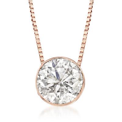 1.00 Carat Diamond Solitaire Necklace in 14kt Rose Gold, , default