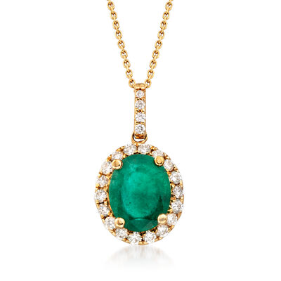 3.40 Carat Emerald and .53 ct. t.w. Diamond Halo Pendant Necklace in 14kt Yellow Gold