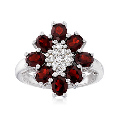 4.00 ct. t.w. Garnet and .30 ct. t.w. White Topaz Flower Ring in Sterling Silver