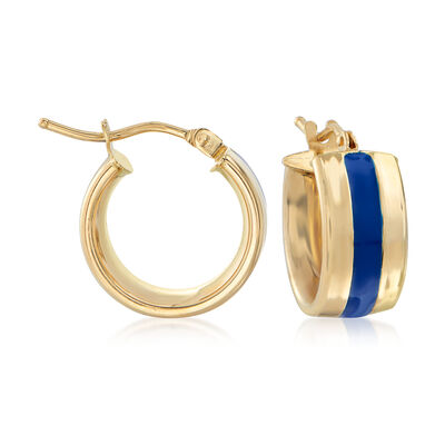 Italian 14kt Yellow Gold and Blue Enamel Huggie Hoop Earrings, , default