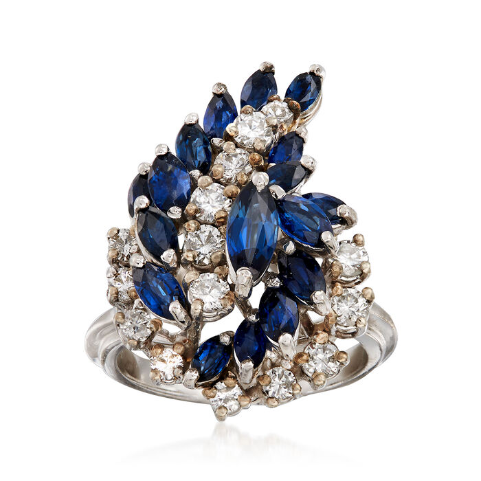 C. 1970 Vintage 2.20 ct. t.w. Sapphire and .90 ct. t.w. Diamond Swirl Cluster Ring in 14kt White Gold. Size 6, , default