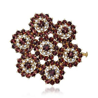 C. 1940 Vintage 2mm Cultured Pearl and 5.25 ct. t.w. Garnet Flower Pin in 14kt Yellow Gold