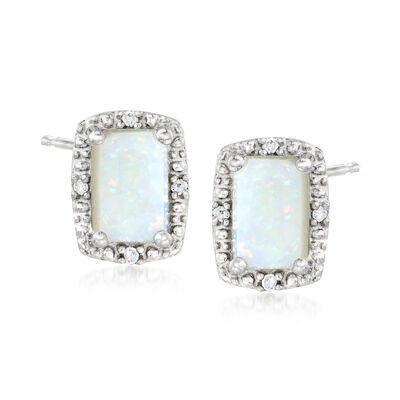 Opal Stud Earrings with Diamond Accents in Sterling Silver