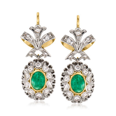 C. 1960 Vintage 2.70 ct. t.w. Emerald and 1.80 ct. t.w. Diamond Drop Earrings in Sterling Silver and 14kt Yellow Gold