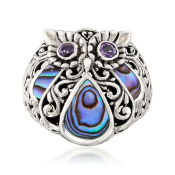 Abalone Shell and .60 ct. t.w. Amethyst Bali-Style Owl Ring in Sterling Silver, , default