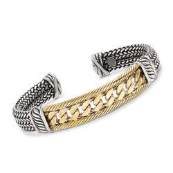 Italian Multi-Link Cuff Bracelet in Two-Tone Sterling Silver, , default