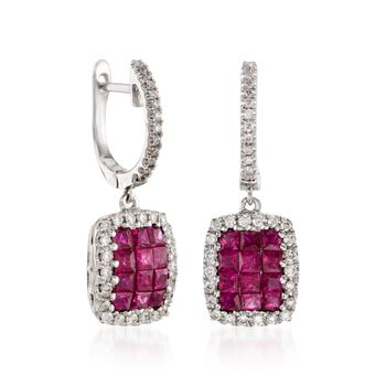 Gregg Ruth .88 ct. t.w. Ruby and .27 ct. t.w. Diamond Earrings in 18kt White Gold, , default