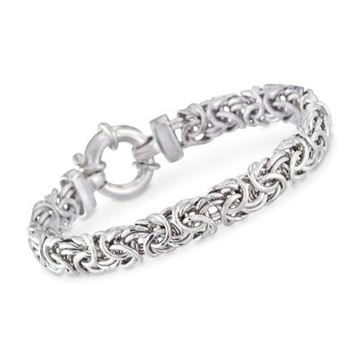 Sterling Silver Medium Byzantine Bracelet, , default