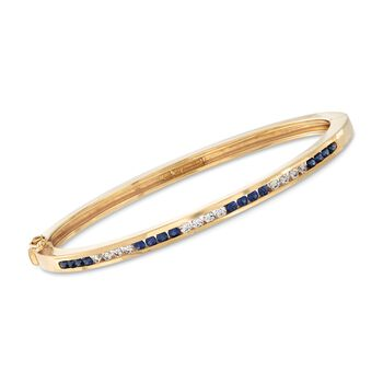 """C. 1980 Vintage Tiffany Jewelry Channel-Set .80 ct. t.w. Sapphire and .45 ct. t.w. Diamond Bangle Bracelet in 18kt Yellow Gold. 6.5"""", , default"""
