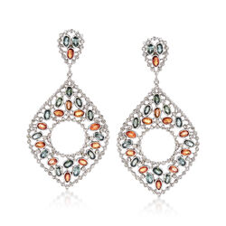 16.00 ct. t.w. Multicolored Sapphire and 3.25 ct. t.w. Champagne Diamond Drop Earrings in Sterling Silver, , default