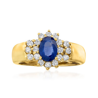 1.00 Carat Sapphire and .45 ct. t.w. Diamond Ring in 14kt Yellow Gold