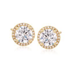 3.25 ct. t.w. CZ Halo Stud Earrings in 14kt Gold Over Sterling, , default