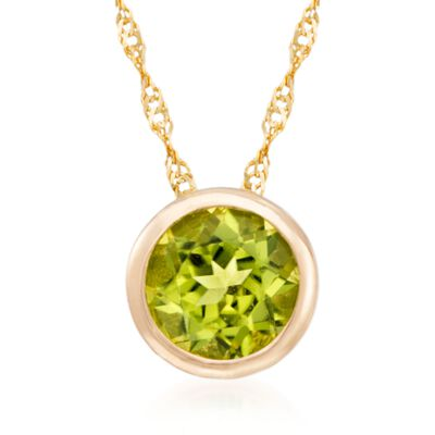 .90 Carat Bezel-Set Peridot Pendant Necklace in 14kt Yellow Gold, , default
