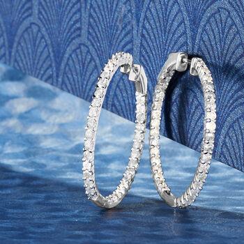 """3.00 ct. t.w. Diamond Inside-Outside Hoop Earrings in Sterling Silver. 1 3/8"""", , default"""