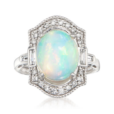 Opal and .46 ct. t.w. Baguette and Round Diamond Ring in 14kt White Gold