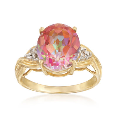 C. 1990 Vintage 5.00 Carat Pink Topaz Ring With Diamond Accents in 10kt Yellow Gold, , default
