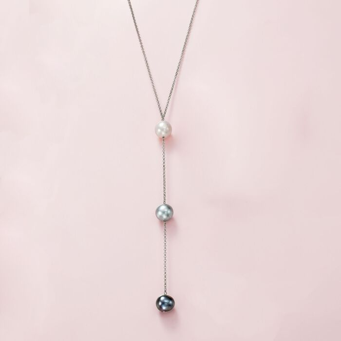 10-11mm Multicolored Cultured Pearl Y-Necklace in Sterling Silver