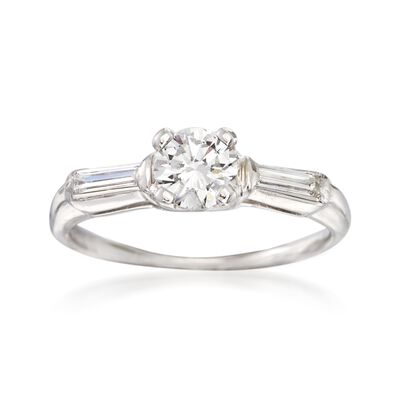 C. 1950 Vintage .67 ct. t.w. Diamond Engagement Ring in 14kt White Gold, , default